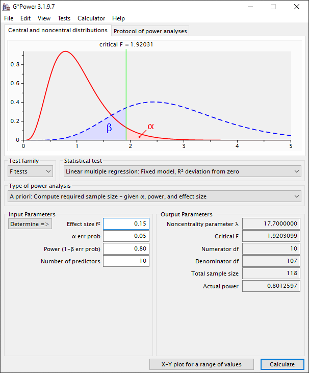 MyResearchMentor.nl - G*Power - MyResearchMentor.nl - G*Power -Statistical test: Linear multiple regression - R2 deviation from zero - A priori : Results (Tabachnick)